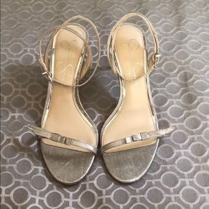 Jessica Simpson silver heeled sandals